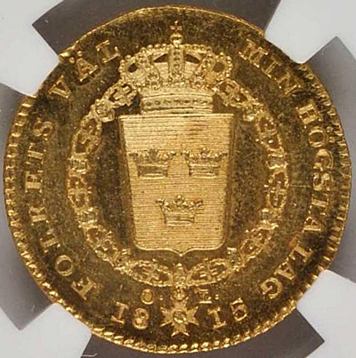 Sverige, Karl XIII 1809-1818, Gulddukat 1815, PRAKTEXEMPLAR MED FIN PROVENIENS!!!