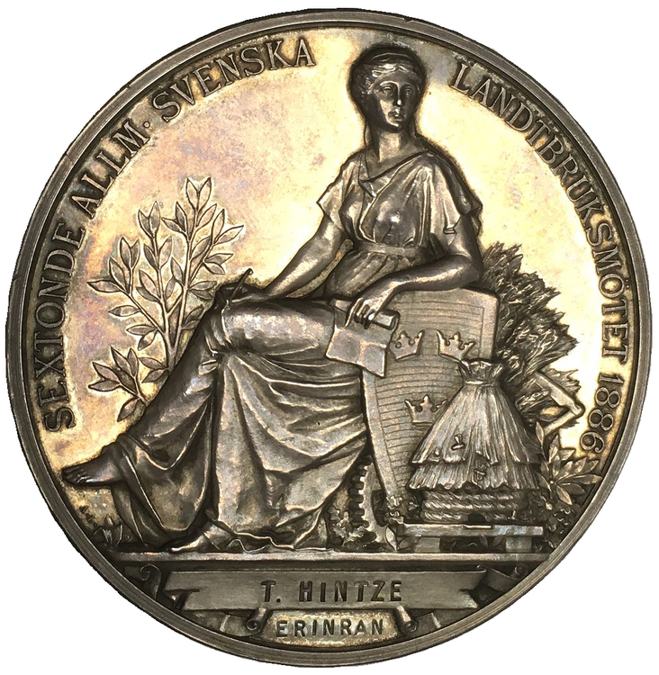 Sverige, Oskar II 1872-1907, Silvermedalj 1886 till sextonde allmänna jordbruksmötet- av A. Lindberg