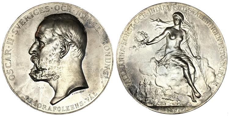 Sverige, Oskar II 1872-1907, Silvermedalj - Industriutställningen 1897 av A. Lindberg