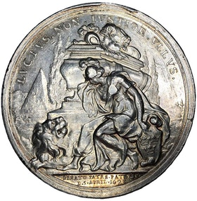 Sverige, Karl XI 1660-1697. Silvermedalj till konungens död 1697 av Arvid Karlsteen