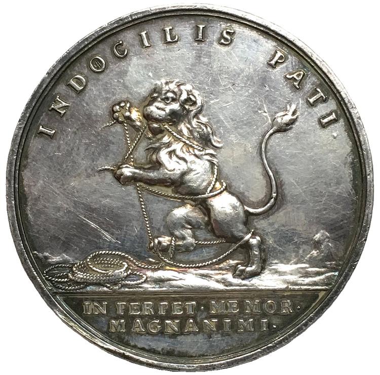 Sverige, Karl XII, Silvermedalj till konungens död 1718 av J.C.Hedlinger