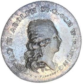 Sverige, Gustav IV Adolf 1792-1809. Silvermedalj utdelad till deltagarna vid tornerspelen vid Drottningholm år 1800