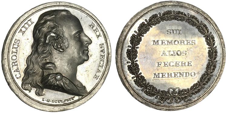 Sverige, Karl XIII 1809-1818, Kunglig belöningmedalj utdelad för berömliga gärningar - RAR!