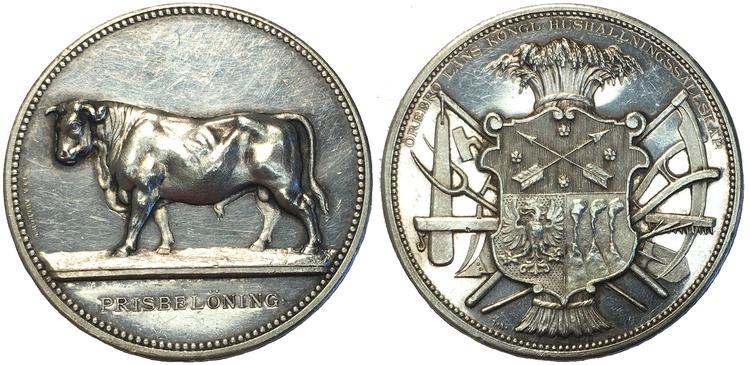 Sverige, Oskar II 1872-1907, Silvermedalj 1888, Örebro läns kungliga hushållningssällskaps prismedalj av Lea Ahborn