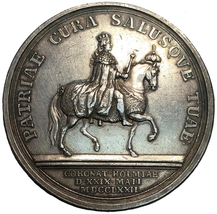 Sverige, Gustav III 1771 - 1792, Silvermedalj till konungens kröning 1772 av Liungberger
