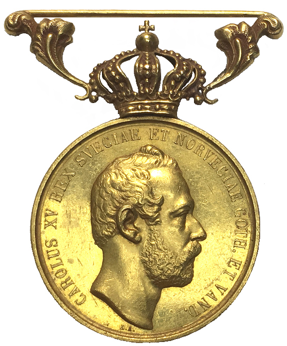"""Sverige, Karl XV 1859-1872, Belöningsmedalj i guld -""""Litteris et Artibus"""" - XR - Graverad av Lea Ahlborn"""