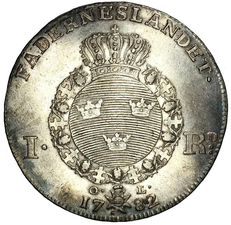 Sverige, Gustav III 1771-1792, Silverriksdaler 1782