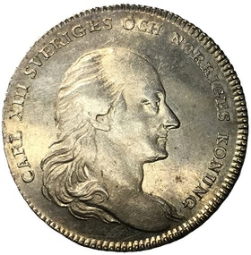 Sverige, Karl XIII 1809-1818, Kastmynt 1/3 Riksdaler 1818 konungens begravning - TILLTALANDE EXEMPLAR