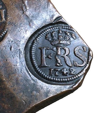 Sverige, Fredrik I 1771-1792, Plåtmynt, 1/2 Daler silvermynt 1742 - VACKERT EXEMPLAR