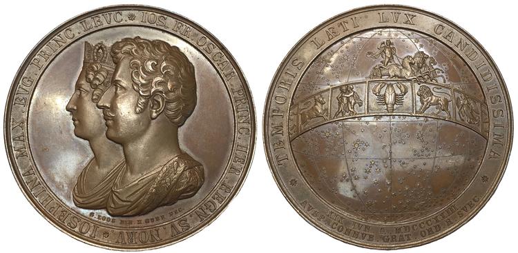 Sverige, Kronprins Oskar (I) gifter sig med Josephina Maximiliana Eugenia Napoleona av Leuchtenberg i Stockholm den 19 juni 1823
