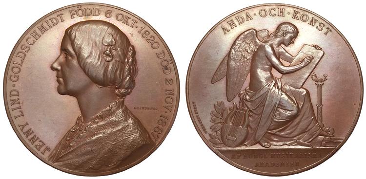 Sverige, Jenny Lind 1820-1887, Operasångerska - Näktergalen, Bronsmedalj