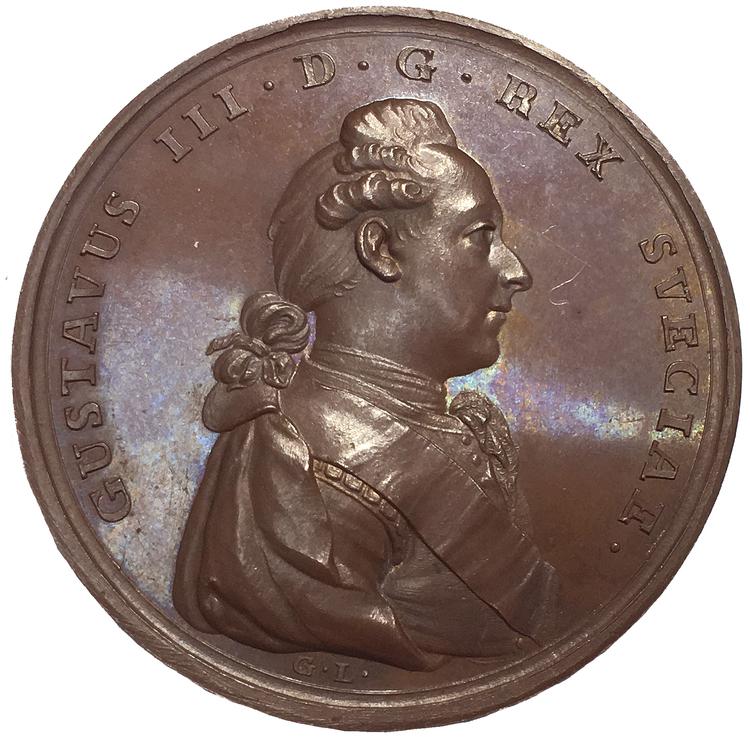 Sverige, Gustav III 1771-1792, Bronsmedalj med anledning Kronprins Gustav (IV) Adolfs dop i 1778