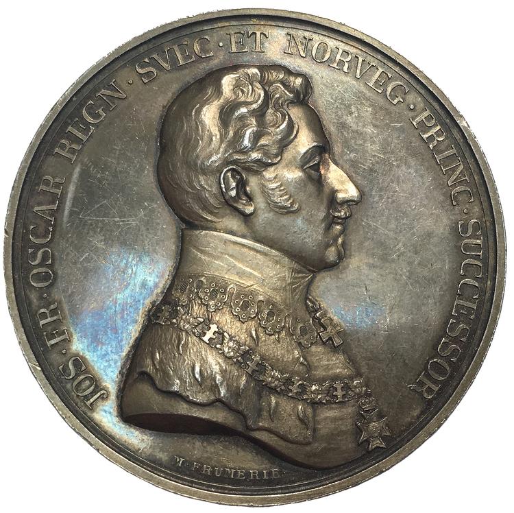 Sverige, Kronprins Oskar (I), Silvermedalj 1835, utgiven till 100-årsfirandet av Kungliga Akademin för de fria konsterna av M. Frumerie