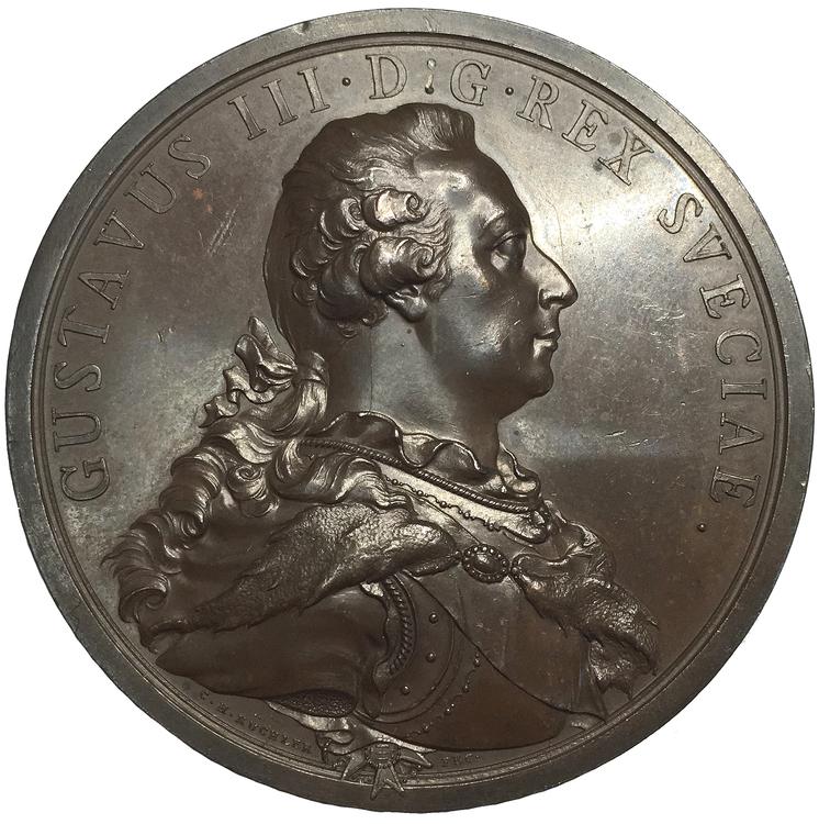 Sverige, Gustav III 1771-1792, Bronsmedalj 1792 med anledning av konungens död, graverad av C.H. Küchler