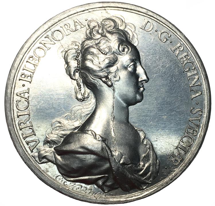 Sverige, Ulrika Eleonora 1719-1720, Medalj av Hedlinger till drottningens kröning 1719 - Ensidigt avslag i Aluminium - RR