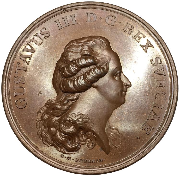 Sverige, Gustav III 1771-1792, PRAKTEXEMPLAR - Bronsmedalj med anledning av konungens återkomst från resan till Italien och Frankrike 1784 graverad av Fehrman
