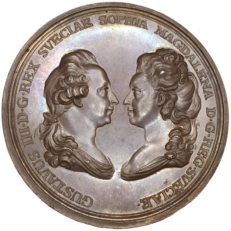 Sverige, Gustav III 1771-1792, Bronsmedalj i händelse av att drottningen skulle föda en dotter 1782 - PRAKTEXEMPLAR - RAR, av G. Ljiungberger