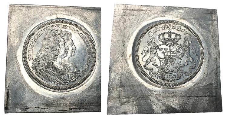 Sverige, Fredrik I 1720-1751, Riksdaler 1727, avslag på fyrkantigt ämne - Aluminium - RR