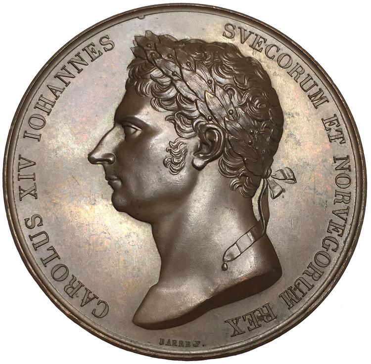 Sverige, Karl XIV Johan 1818-1844, Bronsmedalj med anledning av avtäckningen av Karl XIII bildstod i Stockholm den 5 november 1821 av F. Barre