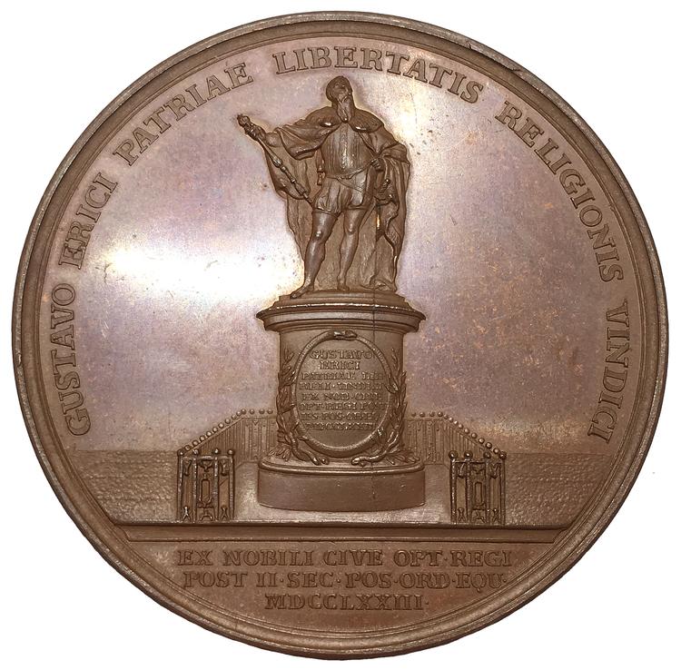 Sverige, Gustav III 1771-1792, Bronsmedalj utgiven med anledning av avtäckandet av Gustav Vasas bildstod i Stockholm den 23 juni 1774 av Ljungberger - PRAKTEXEMPLAR