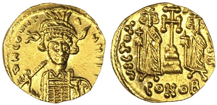 Bysantinska Riket, Constantine IV Pogonatus, med Heraclius & Tiberius, 668-685 e.Kr. Solidus i guld - VACKERT EXEMPLAR