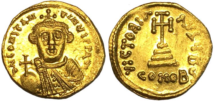Bysantinska riket, Constans II 641-668 e.Kr, Guldsolidus - OCIRKULERAT EXEMPLAR