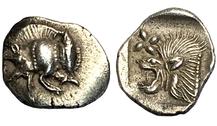 ANTIKA GREKLAND. Mysien, Kyzikos 525-475 f.kr, Hemiobol