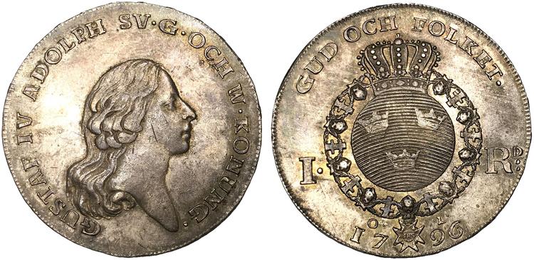 Sverige, Gustav IV Adolf 1792-1809, Riksdaler 1796 - LÄCKERT EXEMPLAR