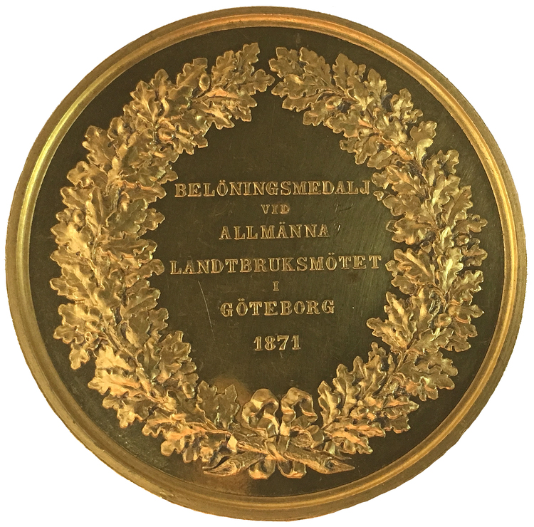 Karl XV 1859-1872, Guldmedalj 1871 i 40 dukaters vikt - UNIK I PRIVAT ÄGO - graverad av Lea Ahlborn