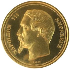 Frankrike, Napolen III 1852-1870. Guldmedalj i PRAKTSKICK till världsutställningen i Paris 1855, RR, av Barre