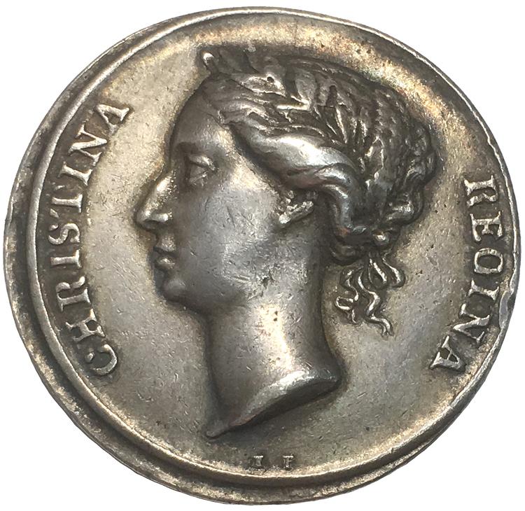 Sverige, Kristina 1632-1654, Kastpenning i silver, utan årtal (1650) till drottningens kröning, graverad av Erich Parise