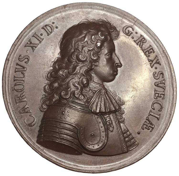 Sverige, Karl XI 1660-1697, Bronsmedalj med anledning av kungens uppfostran och bildning ca 1666, PRAKTEXEMPLAR, graverad av Arvid Karlsteen
