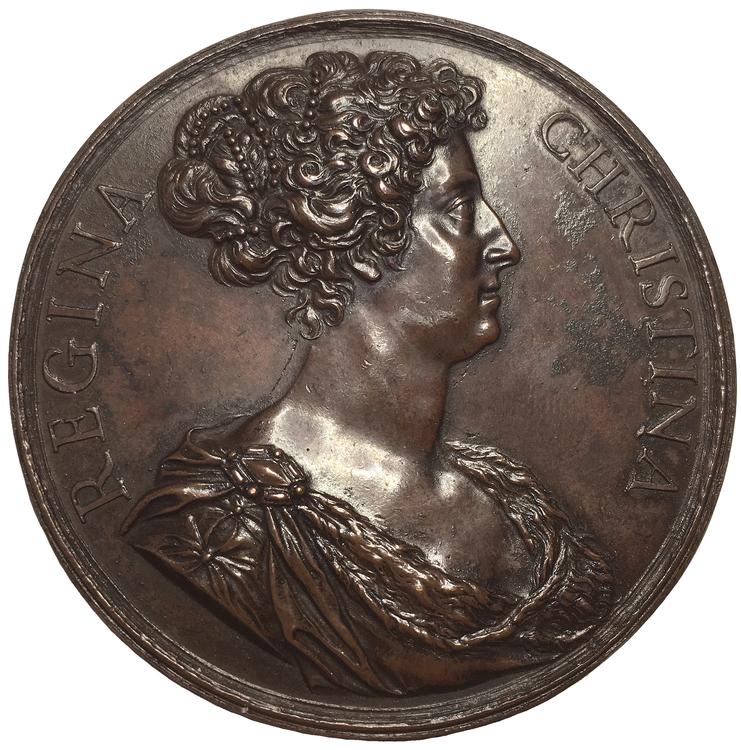 Sverige, Kristina (1632-1654). Vacker bronsmedalj med världskarta, av Giovanni Battista Guglielmada ca 1681