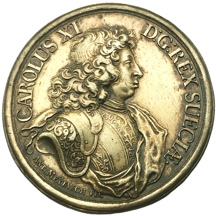 Sverige, Karl XI 1660-1697, Förgylld silvermedalj 1679 - Freden i Lund av Anton Meybusch - RAR