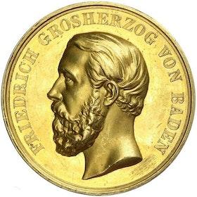 Tyskland, Baden-Durlach, Friedrich I 1852-1907, Kejserlig förtjänstmedalj i guld - RAR,  graverad av Schnitzspahn