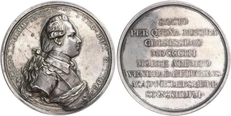 Sverige, Gustav III (1771-1792). Hertigen av Östergötland, Fredrik Adolf 1750-1803. Silvermedalj av C. G. Fehrman - SÄLLSYNT!