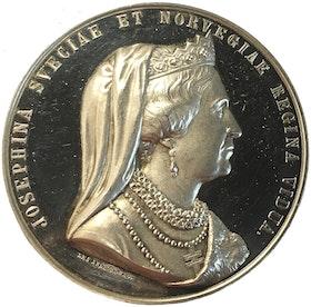 Sverige, änkedrottning Drottning Josephinas 50-årsminne, Praktfull silvermedalj av Lea Ahlborn