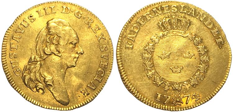 Sverige, Gustav III 1771-1792, Gulddukat 1774 med Fehrmans porträtt! UNIK I PRIVAT ÄGO!