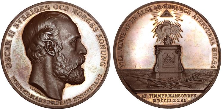 Sverige, Oskar II, Vacker bronsmedalj - Timmermansordern - medalj till minne av konungens tillfrisknande 1881, graverad av Adolf Lindberg
