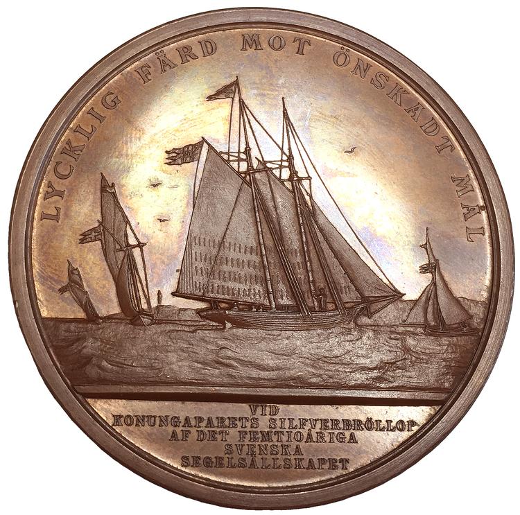 Sverige, Oskar II, Silverbröllopet 1857-1882 - MASSIV PRAKTMEDALJ av Lea Ahlborn