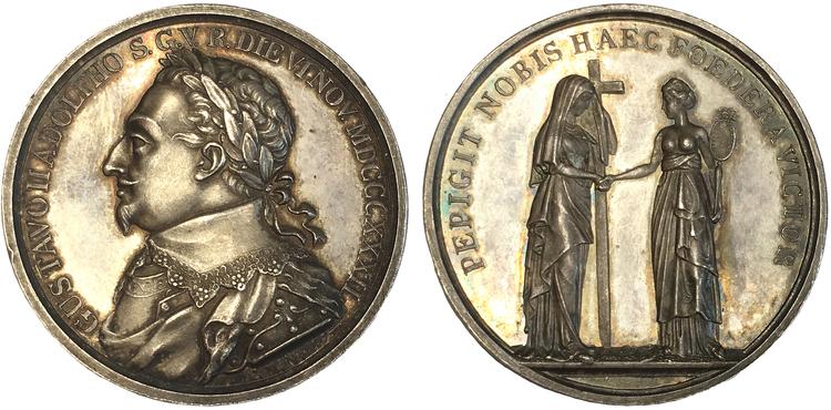 Gustav II Adolf Silvermedalj 6 november 1832 till 200-årsminnet av konungens död, graverad av C.M. Mellgren