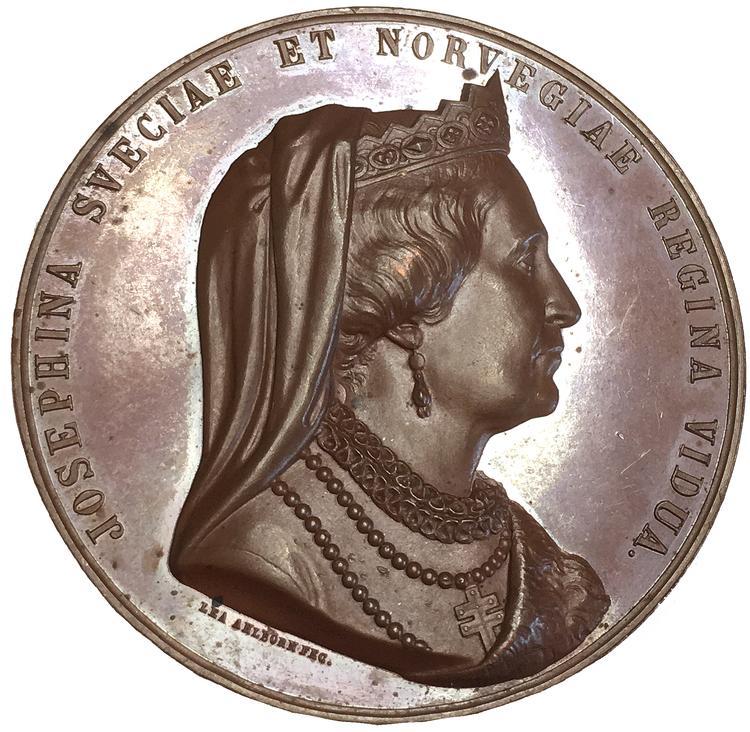 Sverige, Drottning Josephina 50-årsminnet 1823-1873, Vacker bronsmedalj av Lea Ahlborn