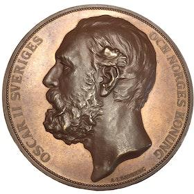 Sverige, Oskar II, Allmänna brandförsäkringsverket 1782-1882, Bronsmedalj i TOPPKVALITET graverad av Adolf Lindberg