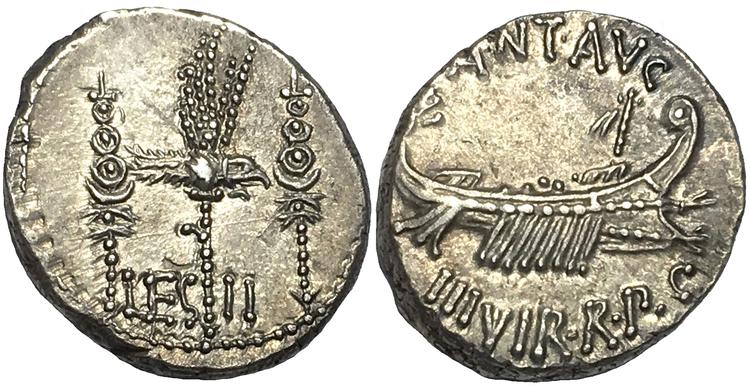 Romerska Republiken, Markus Antonius - Legionärdenar ca 32-31 f.Kr - VACKER MED STÄMPELGLANS!