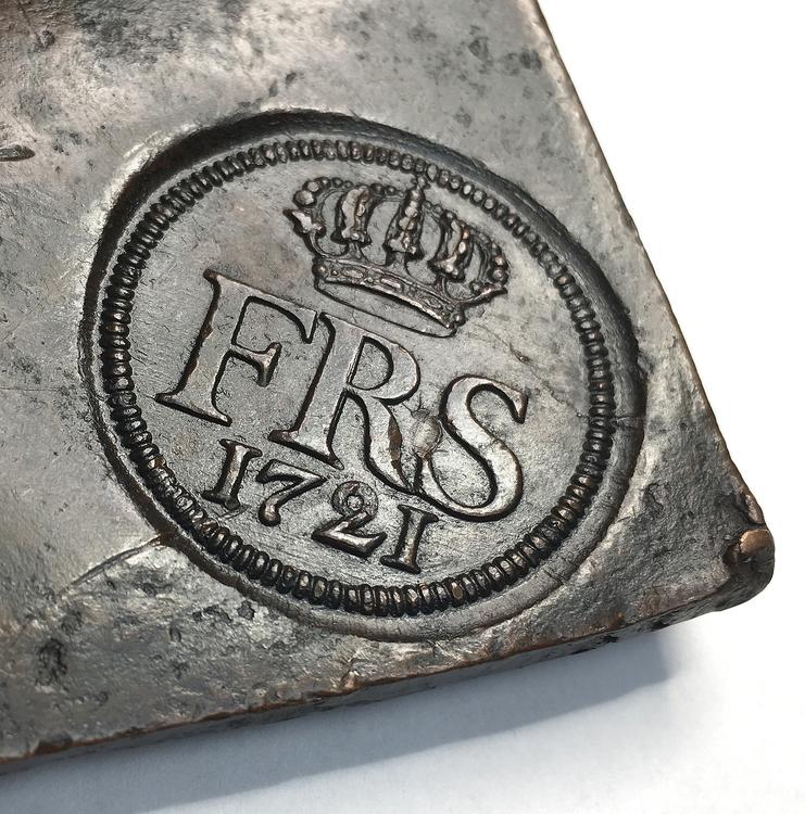 Plåtmynt 2 Daler SM 1721 - Osedvanligt välbevarat exemplar