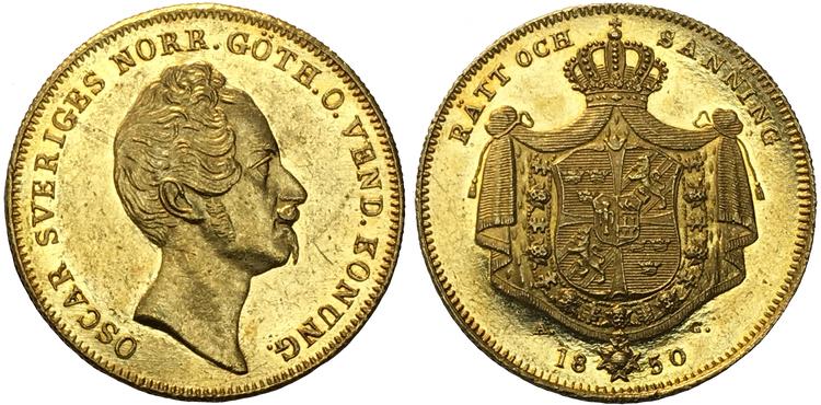 Sverige, Oskar I - 4 Dukater 1850 - Ett praktfullt guldmynt i vacker kvalitet, Ex. Hagander