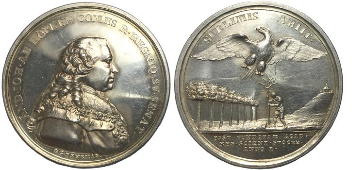 Anders Johan von Höpken (1712-1789) - MYCKET SÄLLSYNT SILVERMEDALJ - RR. Graverad av C.G. Fehrman