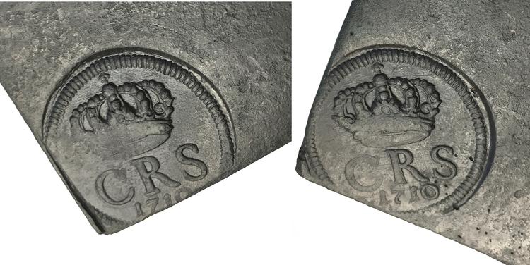 Karl XII - Plåtmynt 1/2 Daler SM 1710 - MYCKET VACKER
