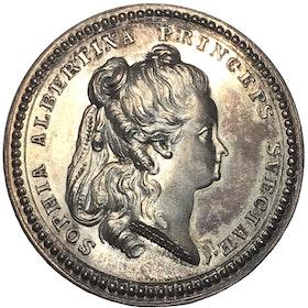 Prinsessan Sophia Albertina - Minnespenning 1783, graverad av Fehrman 1784 - Praktexemplar, MYCKET SÄLLSYNT