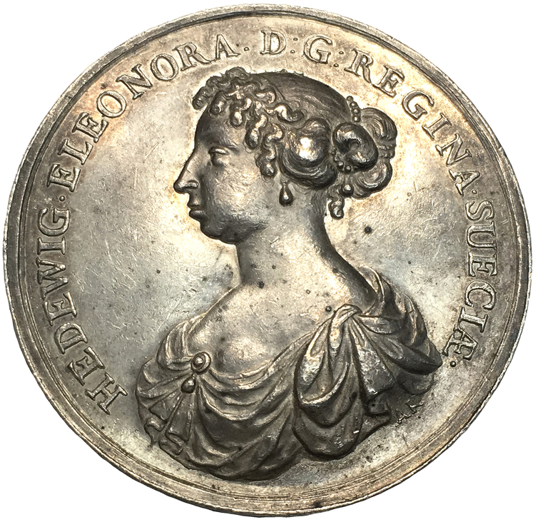 Sverige, Karl X Gustav & Hedvig Eleonora ca 1669 av Arvid Karlsteen, RR, Extremt Sällsynt
